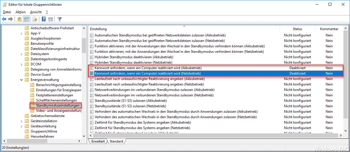 Kennwort anfordern, wenn ein Computer reaktiviert wird.