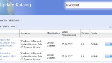 KB4020001 und KB4020002 für Windows 10 Version 1703 Creators Update veröffentlicht