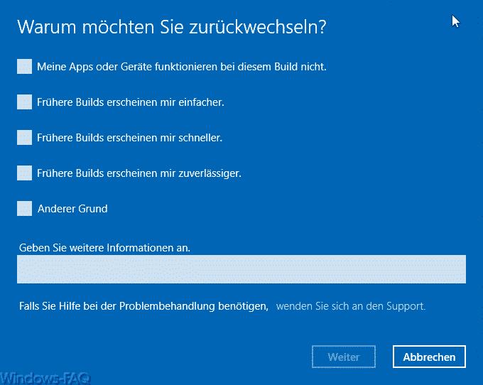Windows 10 Deinstallation - warum möchten Sie zurückwechseln