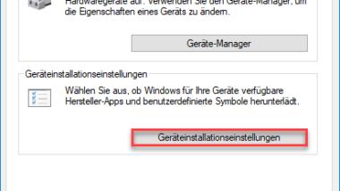 Windows Treiber Updates über die Geräteinstallationseinstellungen deaktivieren