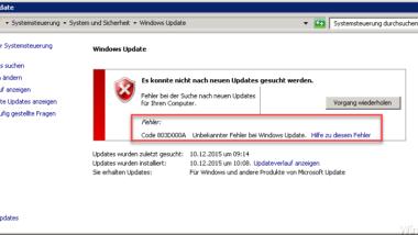 Windows Update Fehlercode 803D000A