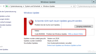 Windows Update Fehlercode 80240442