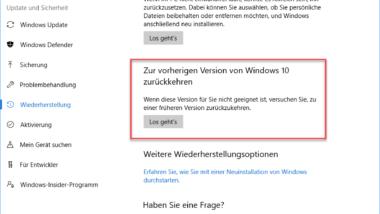 Windows 10 Creators Update deinstallieren oder zur vorherigen Windows-Version zurückkehren