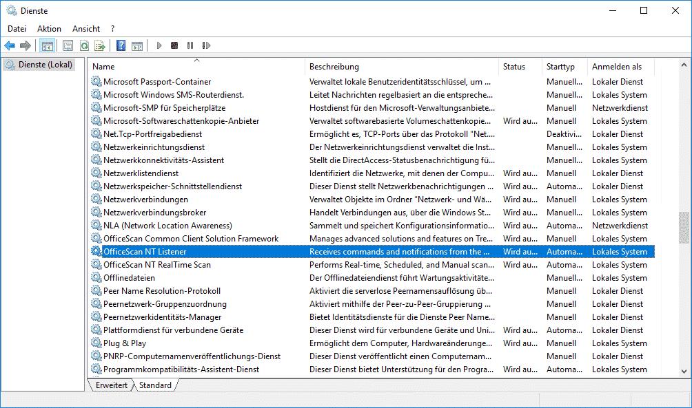 Übersicht Windows Dienste