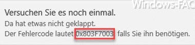 0x803F7003 Fehlermeldung im Windows Store