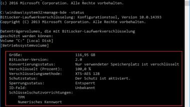 """Anzeige der Bitlocker Verschlüsselungs-Einstellungen mit """"Manage-BDE"""""""