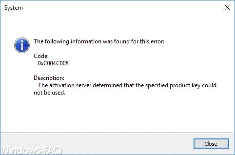 Code 0xC004C008 Windows Activation