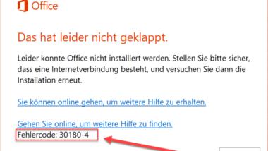 Fehlercode 30180-4 beim Deinstallieren von Microsoft Office