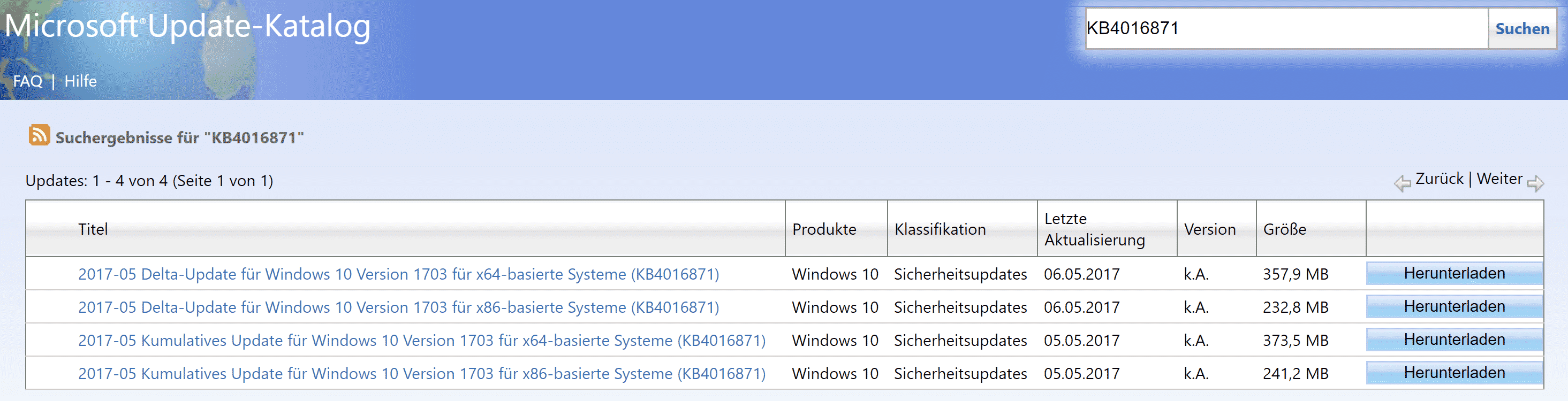 Delta Update Windows 10 Version 1703 KB4016871