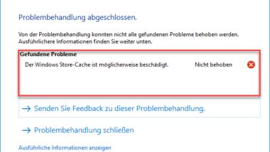 Der Windows Store-Cache ist möglichweise beschädigt