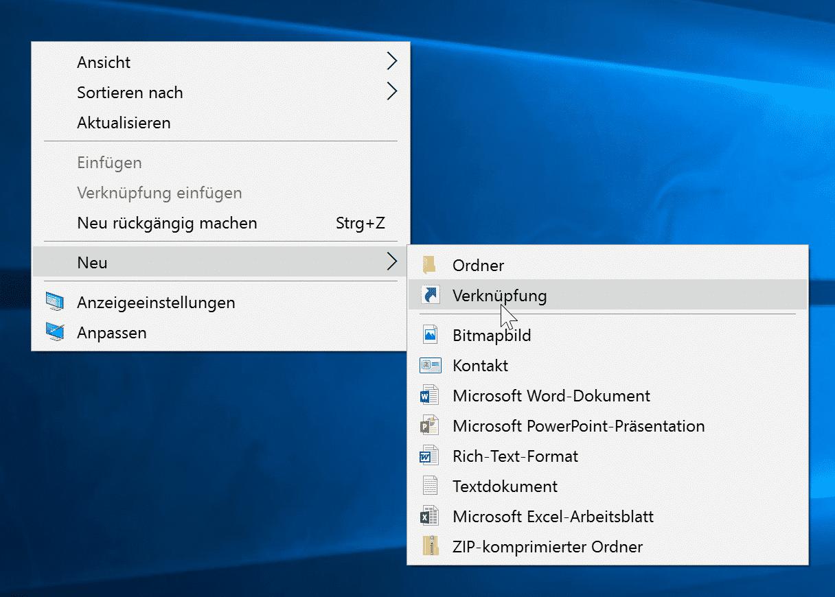 Desktop Verknüpfung auswählen