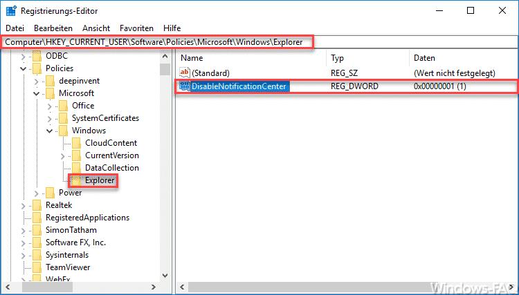 Computer\HKEY_CURRENT_USER\Software\Policies\Microsoft\Windows\Explorer DisableNotificationCenter
