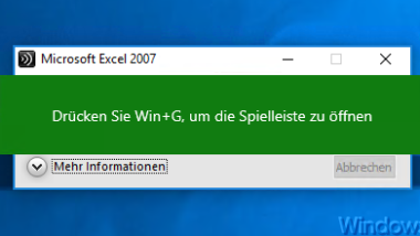 Game DVR (Game Mode) deaktivieren bei Windows 10 – Win + G