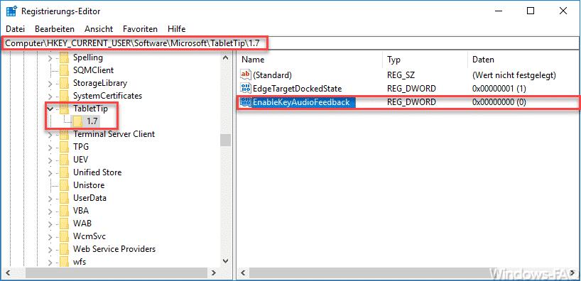 EnableKeyAudioFeedback Registry