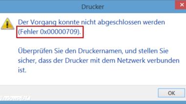 Fehlercode 0x00000709 beim Setzen des Windows Standarddruckers