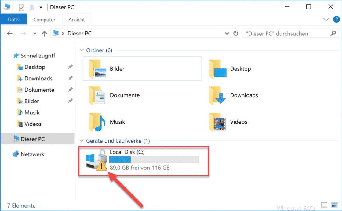 Ausrufezeichen auf Systempartition im Windows 10 Explorer