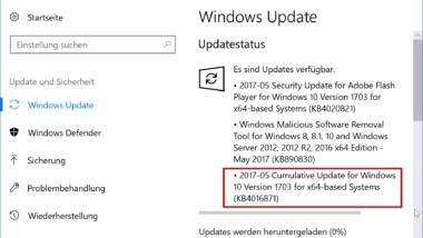KB4016871 für Windows 10 Creators Update Version 1703 Build 15063.296 und 15063.297