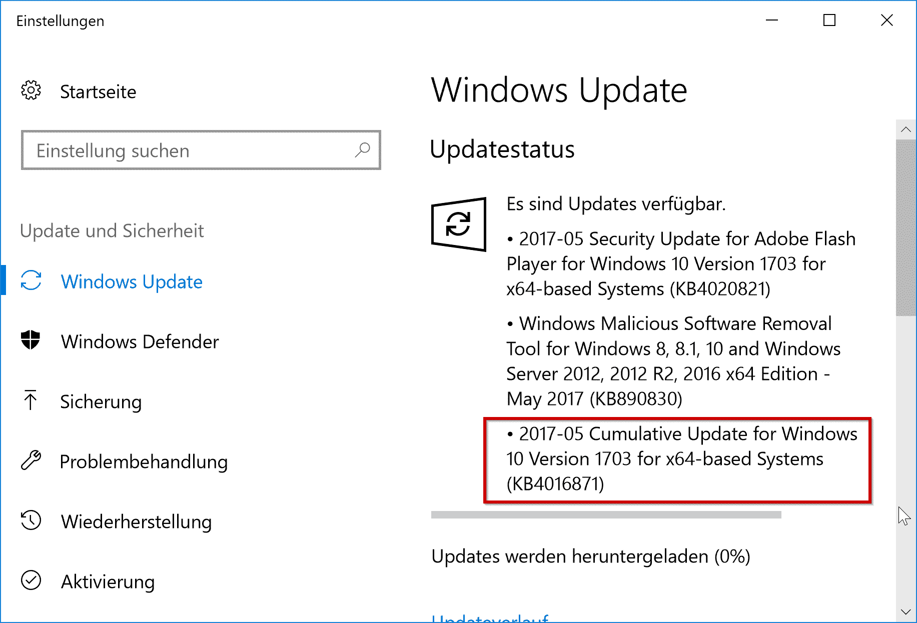 Kumulatives Updates für Windows 10 Version 1703 KB4016871