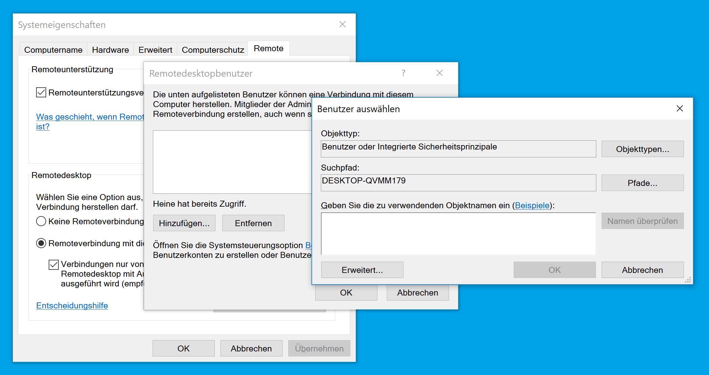 Remotedesktopbenutzer auswählen
