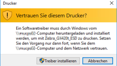 Point and Print Probleme bei Installation von Druckertreibern unter Windows 10