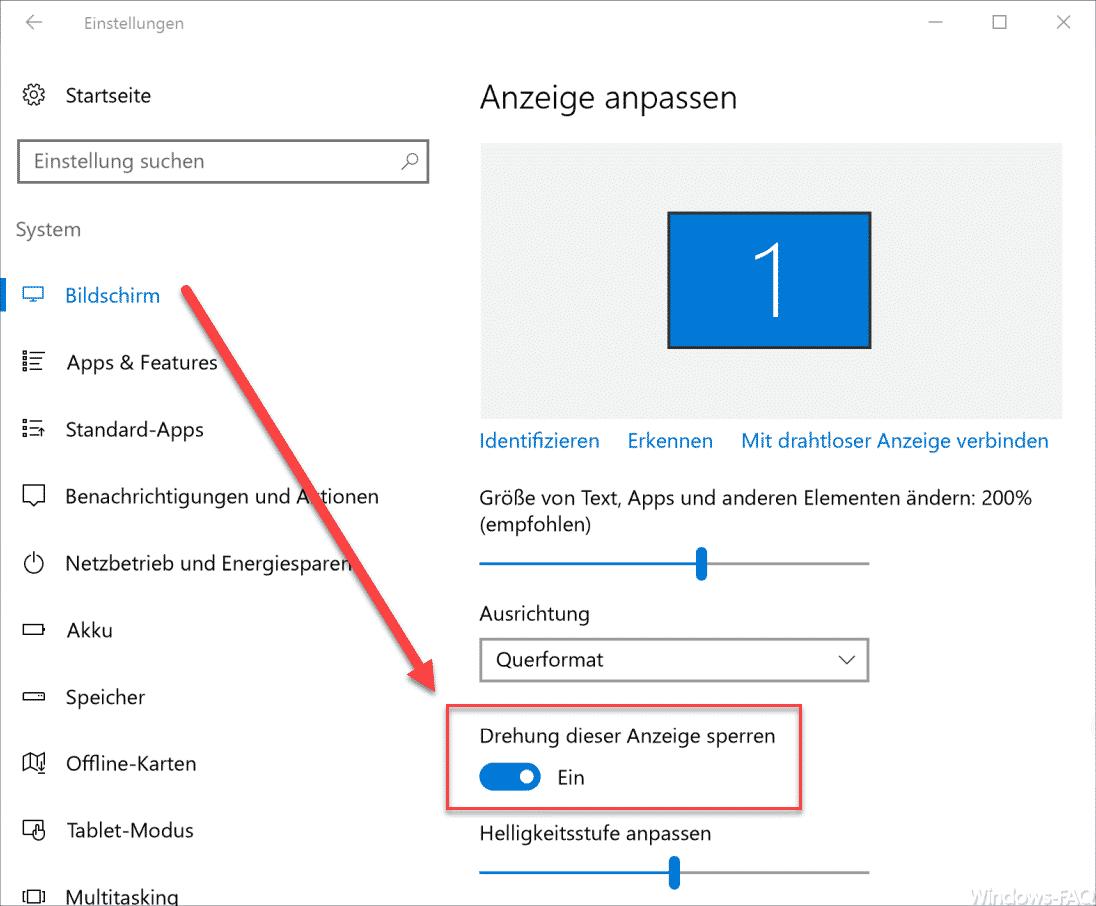 Windows 10 Drehung dieser Anzeige sperren