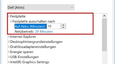 Zeitspanne für das Abschalten der Festplatte unter Windows 10 festlegen (Energieoptionen)