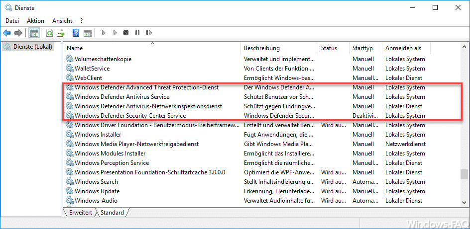 Windows Defender Security Center Dienste deaktiviert
