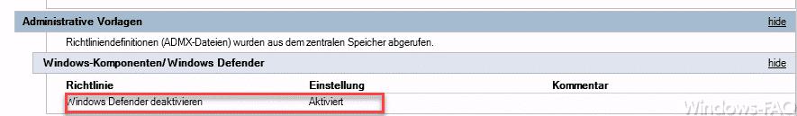 Windows Defender deaktivieren GPO