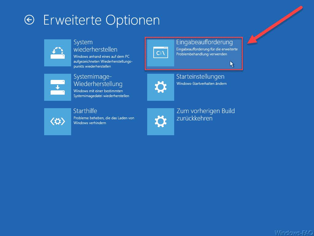 Windows PE Erweitere Startoptionen Eingabeaufforderung