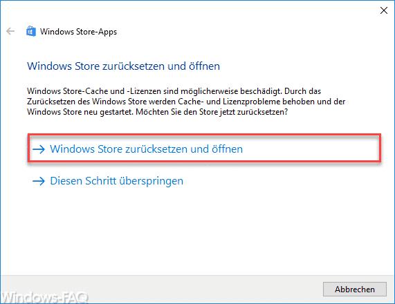 Windows Store zurücksetzen und öffnen