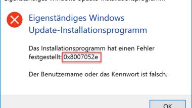 0x8007052E Fehlercode beim Windows Update
