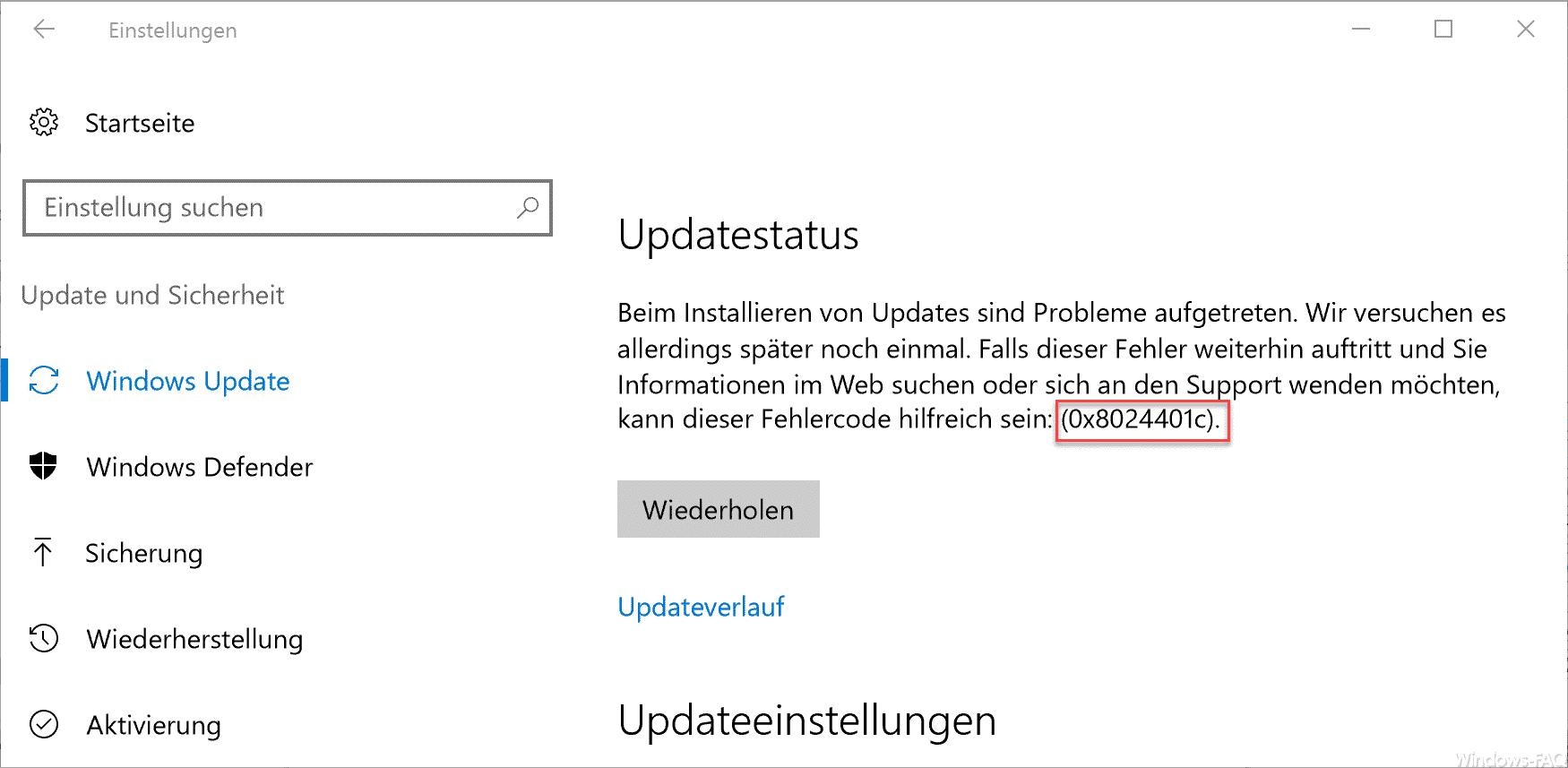 0x8024401c Update Fehlermeldung