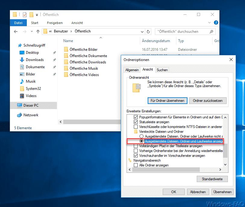 Ausgeblendete Dateien, Ordner und Laufwerke anzeigen