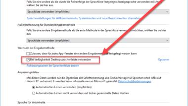 Desktopsprachenleiste (DEU) bei Windows 10 Taskleiste ausblenden