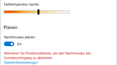 Windows 10 Nachtmodus aktivieren bzw. deaktivieren