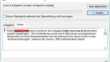 Outlook Fehlermeldung 0x800CCC90 und 0x800CCC92