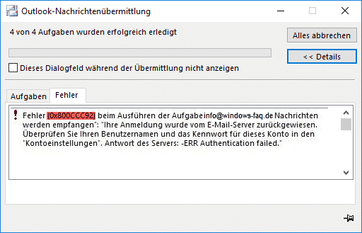 Fehler 0x800CCC92 Microsoft Outlook