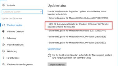 KB4022715 für Windows 10 Version 1607 Anniversary Build 14393.1358