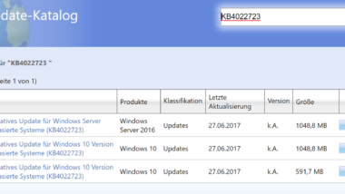 KB4022723 für Windows 10 Version 1607 Anniversary erschienen (Build 14393.1378)