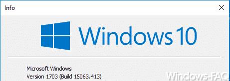 Windows 10 Version 1703 Build 15063.413