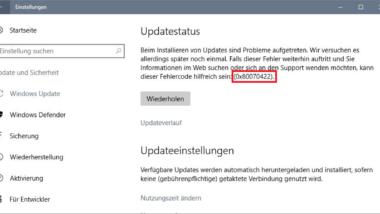 0x80070422 Fehlercode beim Windows Update