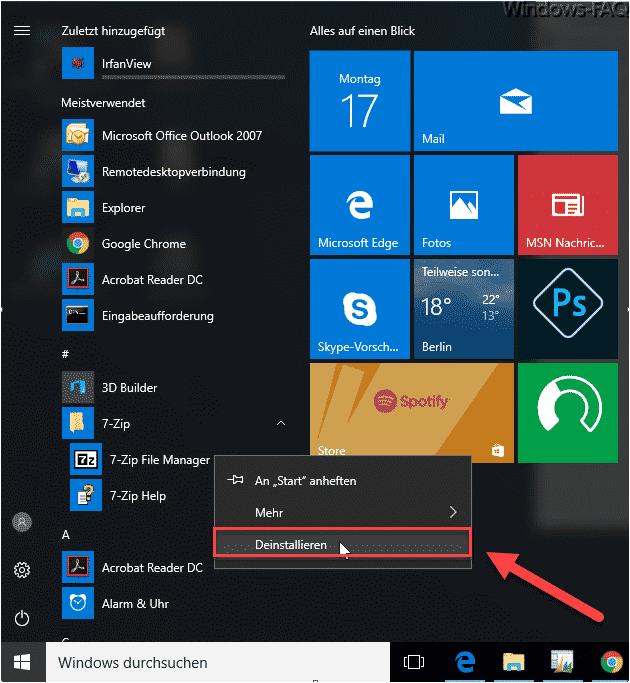 Deinstallieren im Windows 10 Startmenü