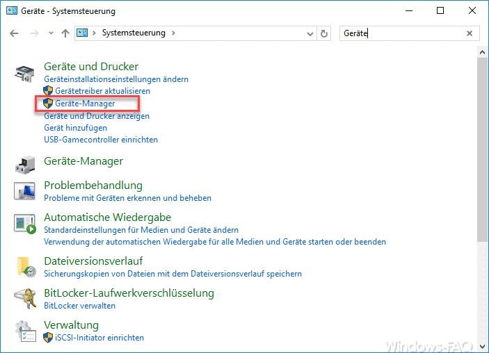 Systemsteuerung Gerätemananger Windows