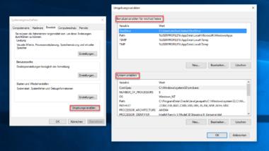 Windows Umgebungsvariablen (Benutzerdefiniert, Systemvariablen) bearbeiten