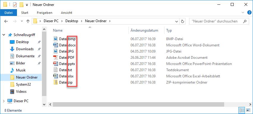 Windows Explorer Dateien mit eingeblendeten Dateiendungen