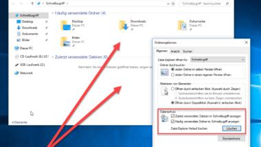 Windows Explorer – Zuletzt verwendete Dateien und Häufig verwendete Ordner