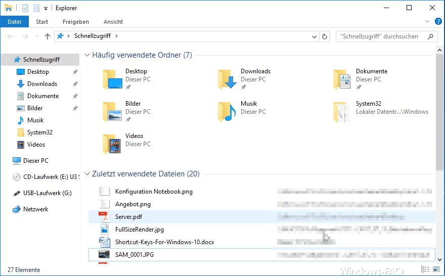 Windows 10 Explorer Anzeige häufig verwendete Ordner und zuletzt verwendete Dateien