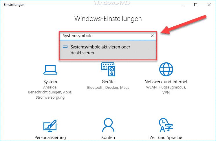 Windows 10 Systemsymbole aufrufen