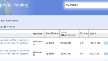 KB4038801 Update Build 14393.1737 für Windows 10 Version 1607 Anniversary
