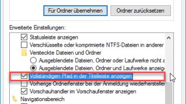 Kompletten Ordnernamen im Kopf des Windows Explorers anzeigen